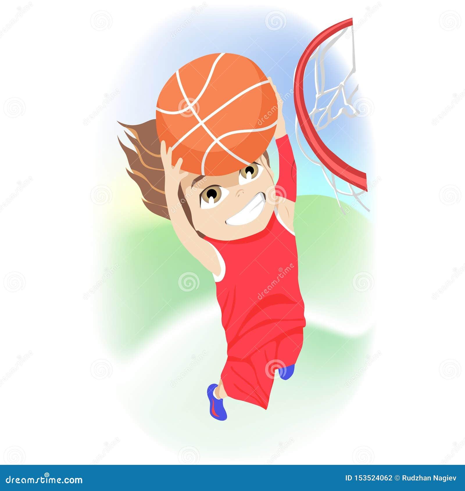 Gl?ckliches Kindheitkonzept Wettbewerbsfähiger Junge, der den Basketball springt spielt, damit das Netz ein Tor während seines So