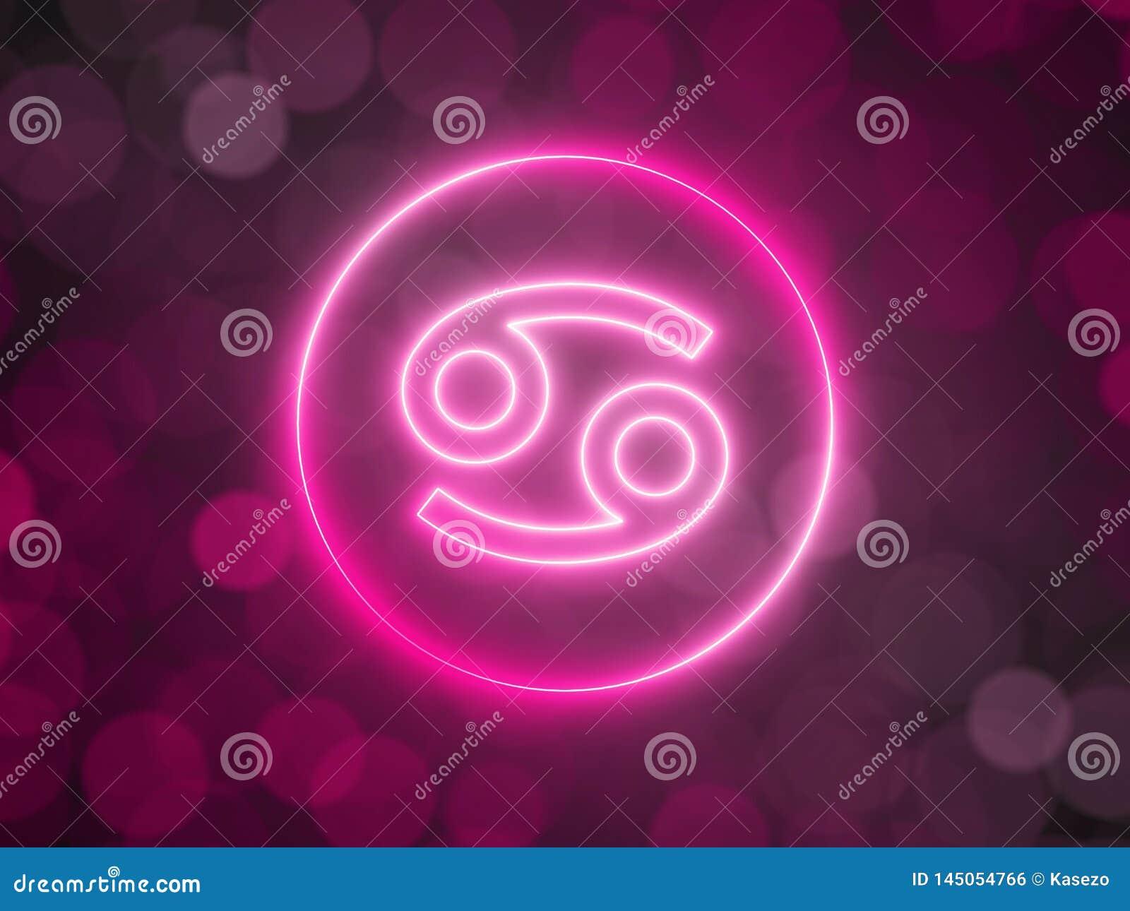 Gl?dande neontecken av cancer med suddig bokehbakgrund illustration 3d