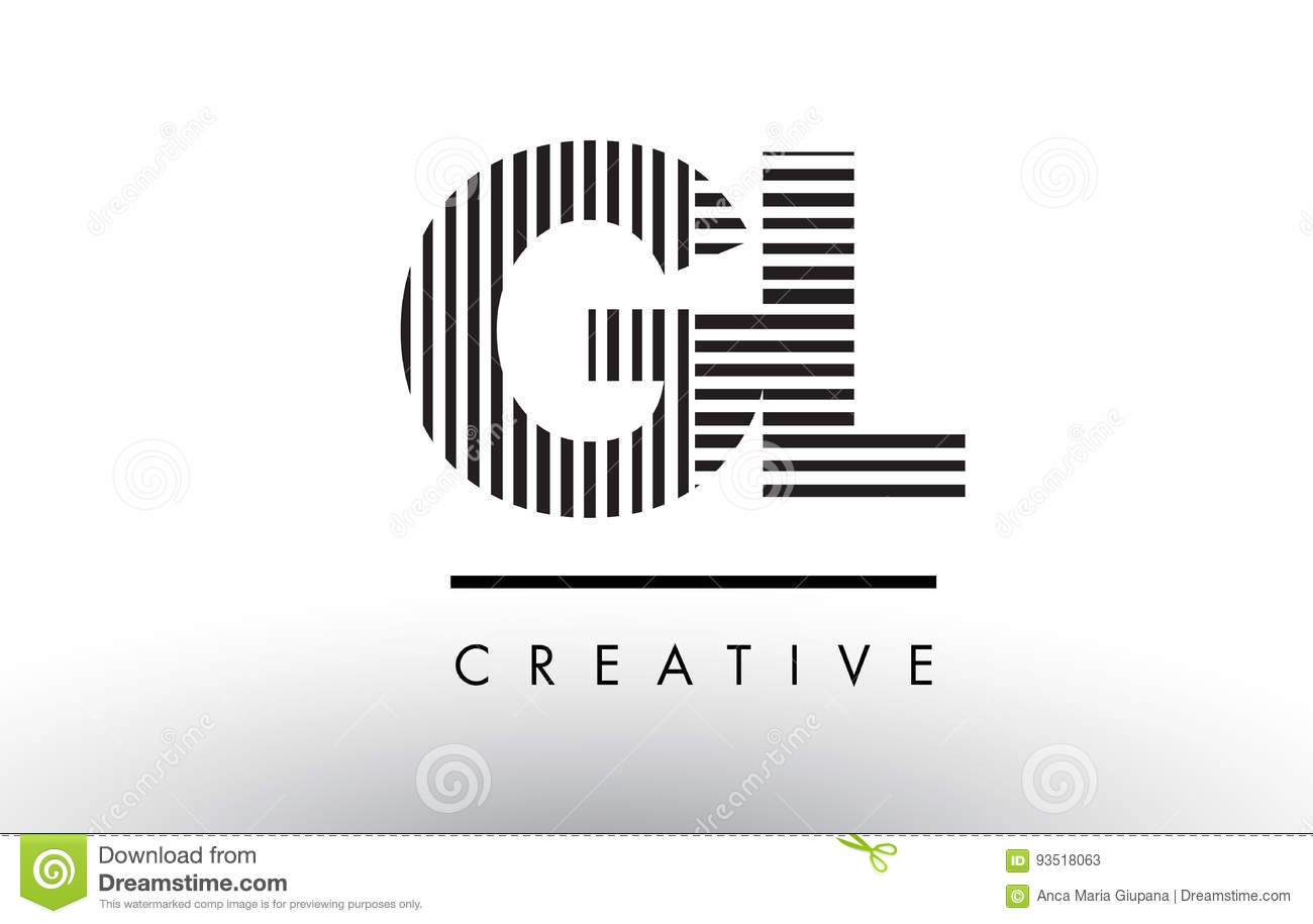 Gl G L Black And White Lines Letter Logo Design Stock Vector