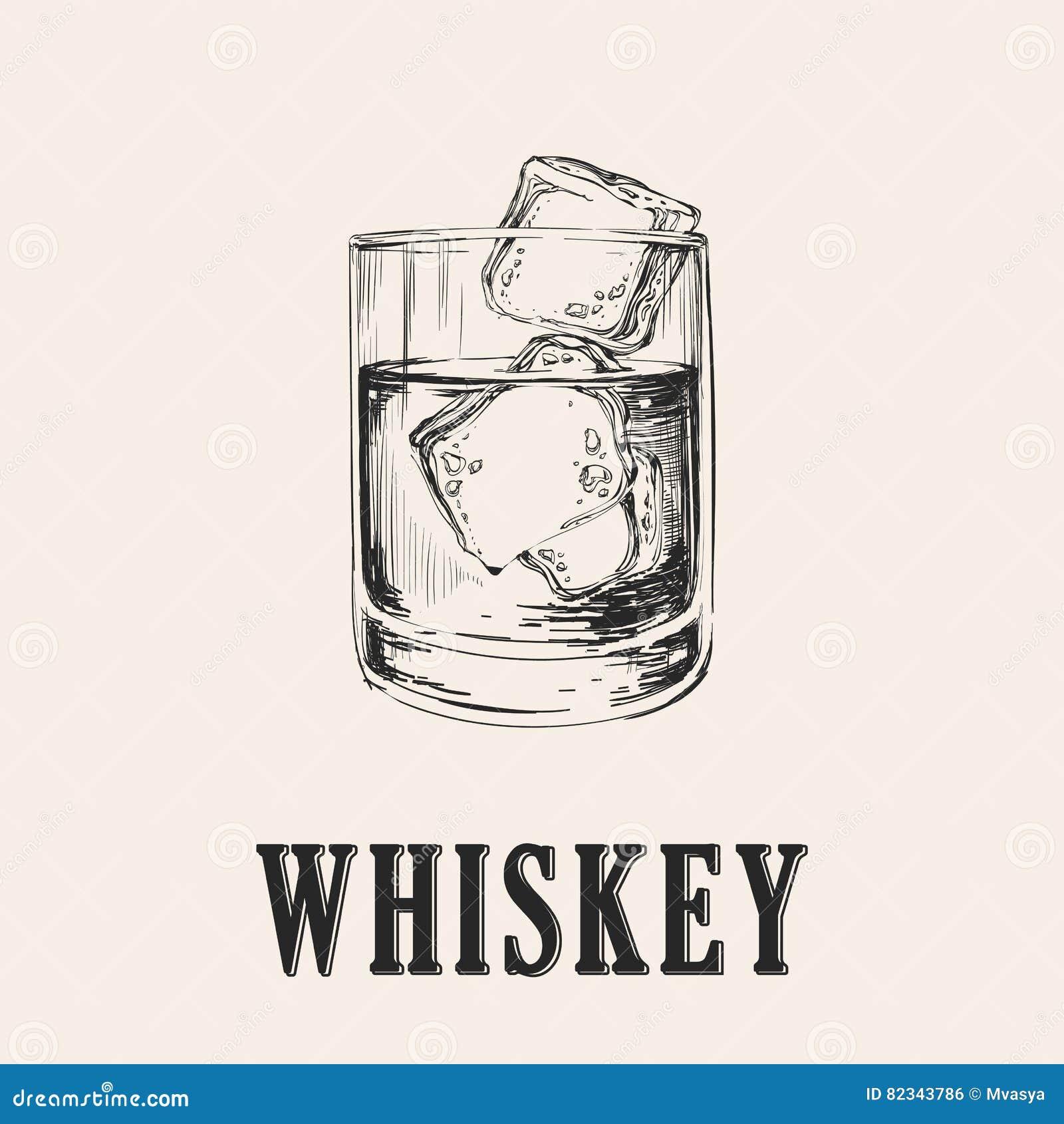 Glace de whiskey Illustration tirée par la main de vecteur de boissons