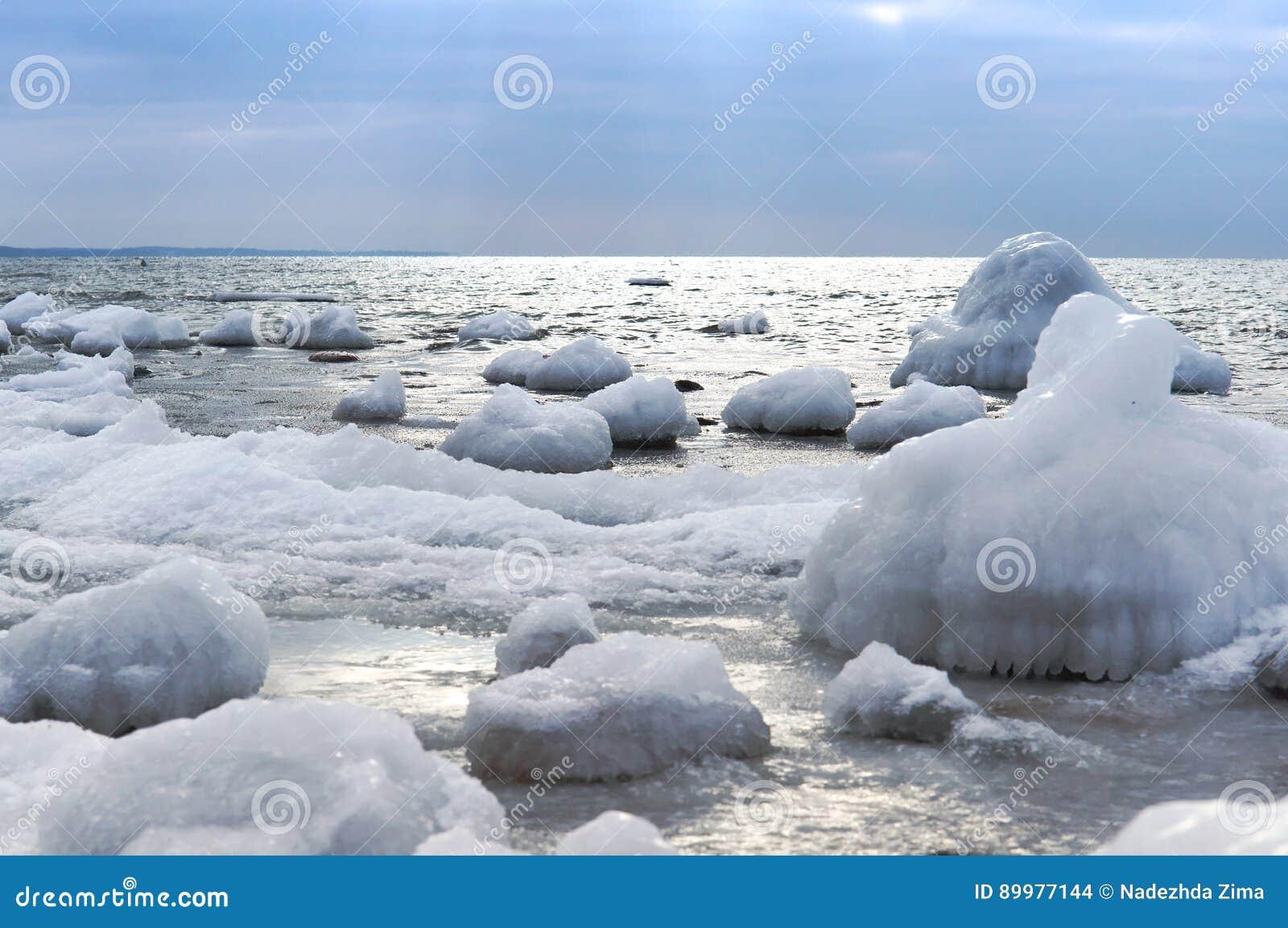 Glace, mer, neige, froid, hiver, paysage, voyage, Baltique, tourisme