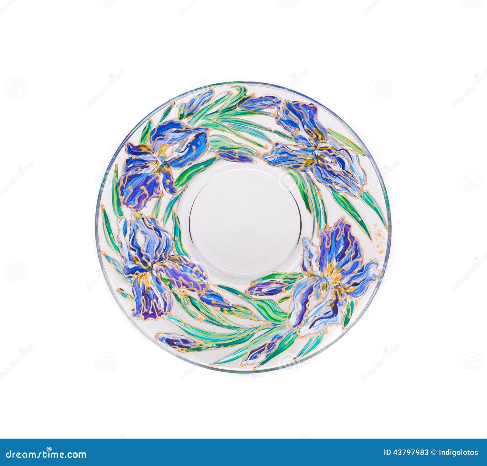 glace ronde avec le dessin acrylique photo stock image