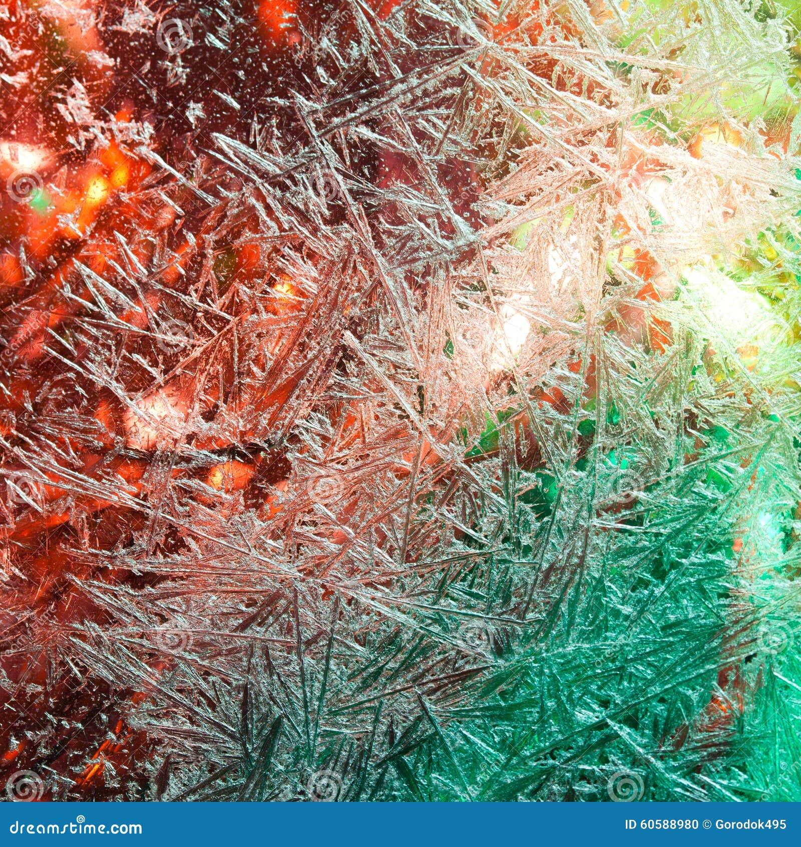 Glacez les fleurs Fleurs de Frost Hublot figé Hiver dans la fenêtre Lumières de Noël dans l hublot illumination