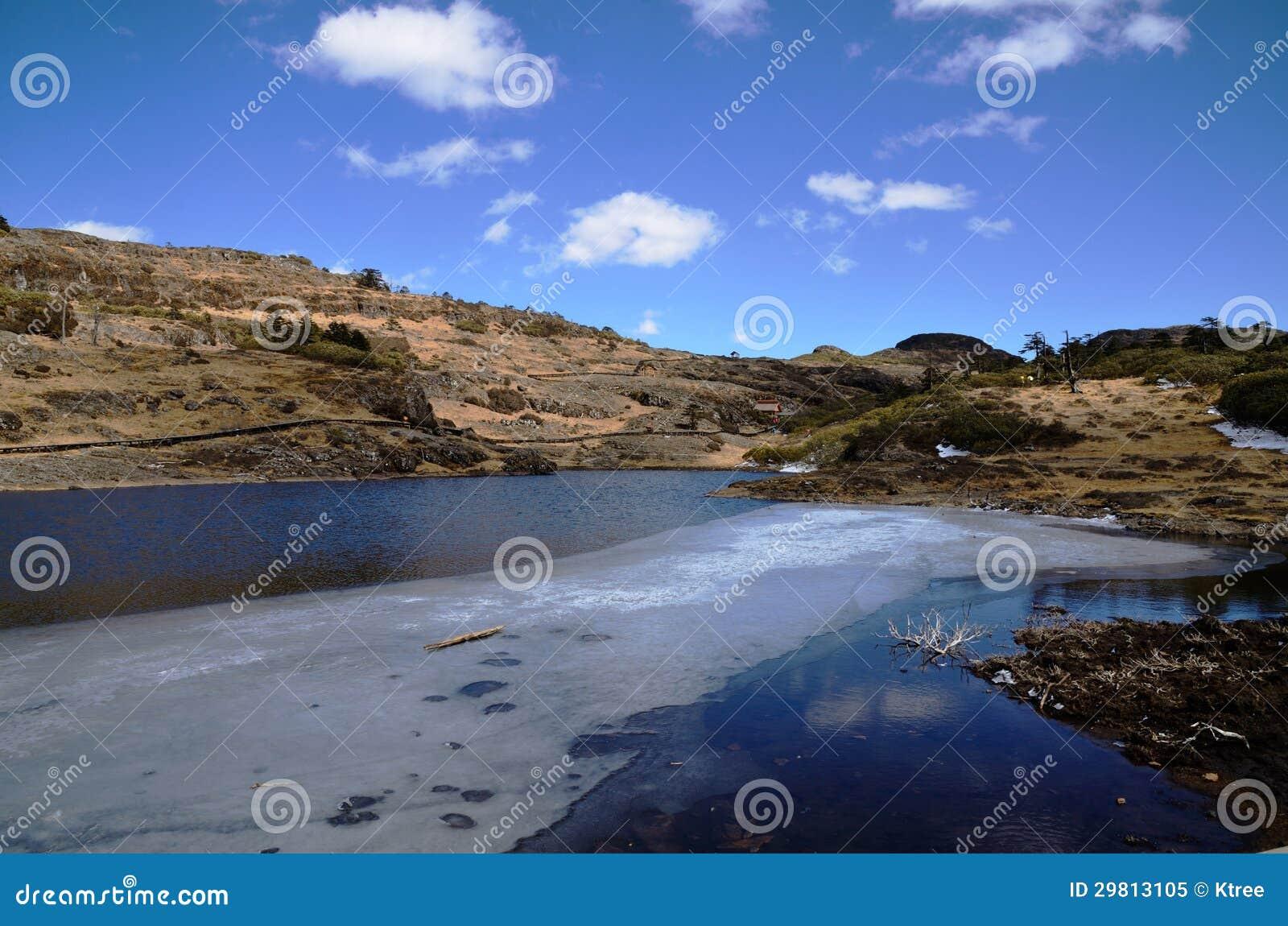 Rivière de montagne en glace