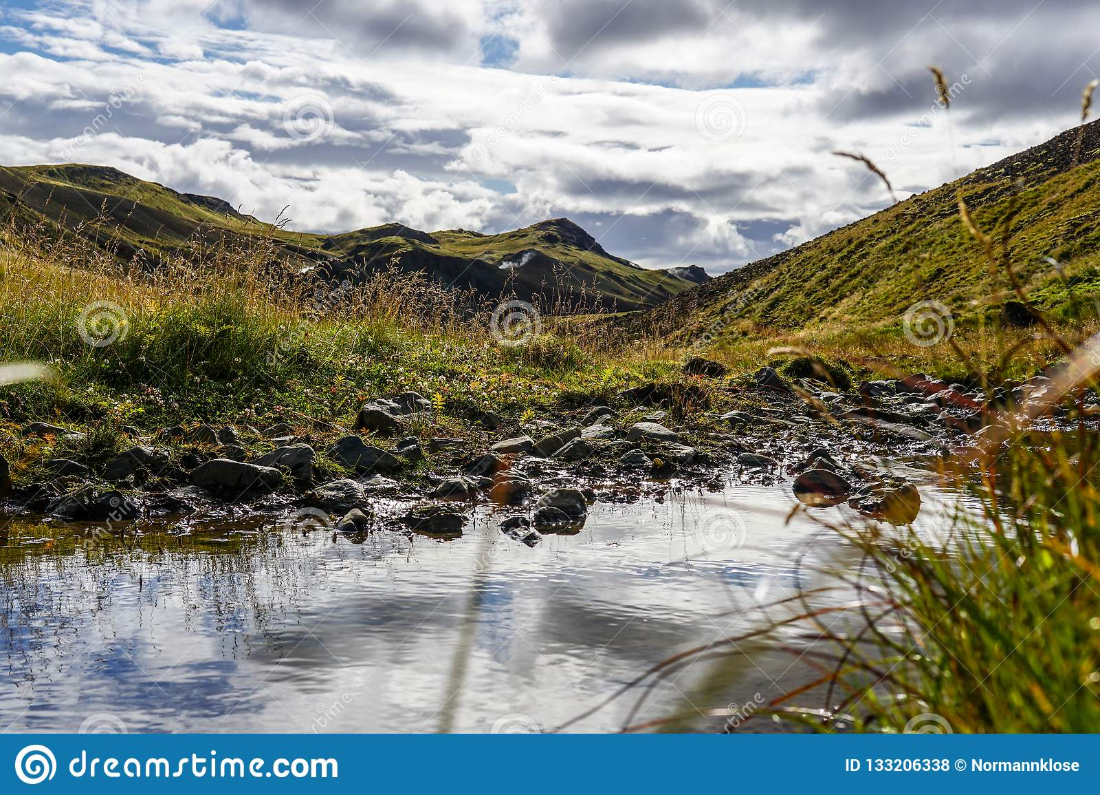 Glaciel rzeka biega przez Islandzkiego krajobrazu