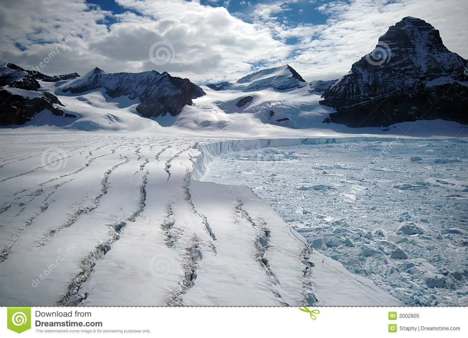 Glacier antarctique de fonte