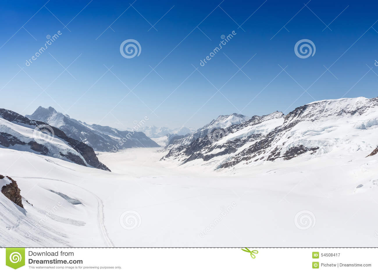 Glacier d Aletsch dans le Jungfraujoch, Alpes, Suisse