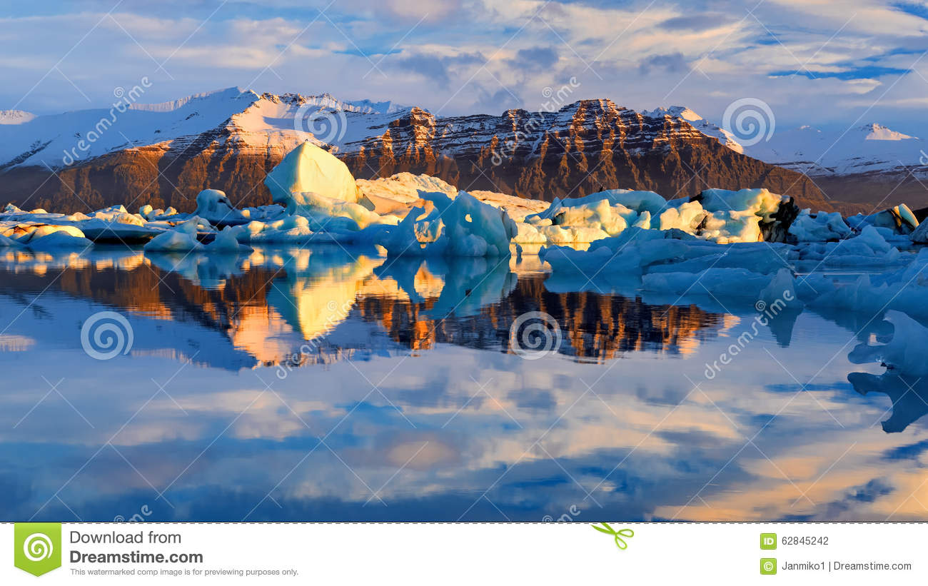 Glacier Lagoon In East Iceland, Nature Stock Photo - Image: 62845242