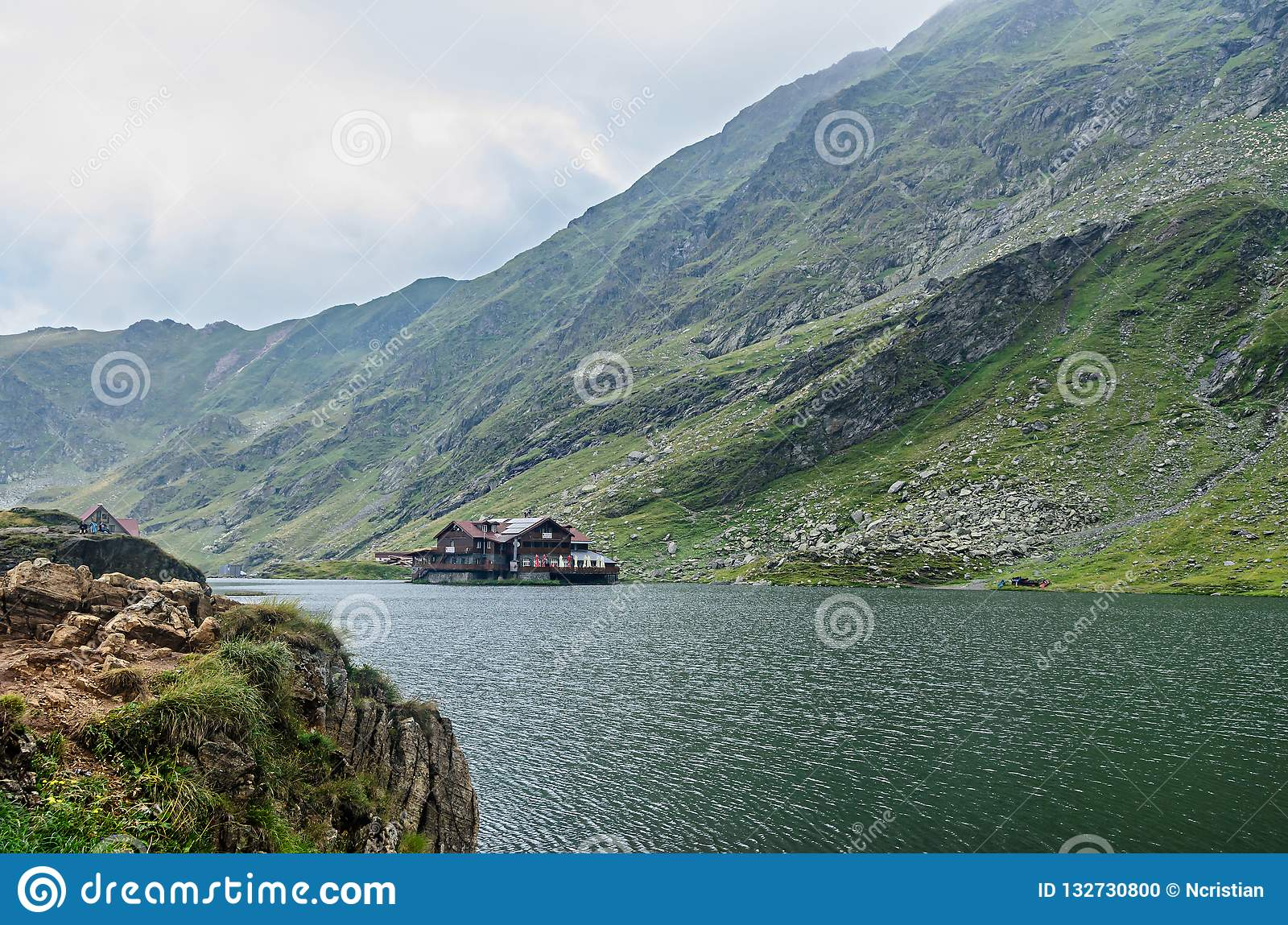 The glacier lake called Balea Balea Lac on the Transfagarasan
