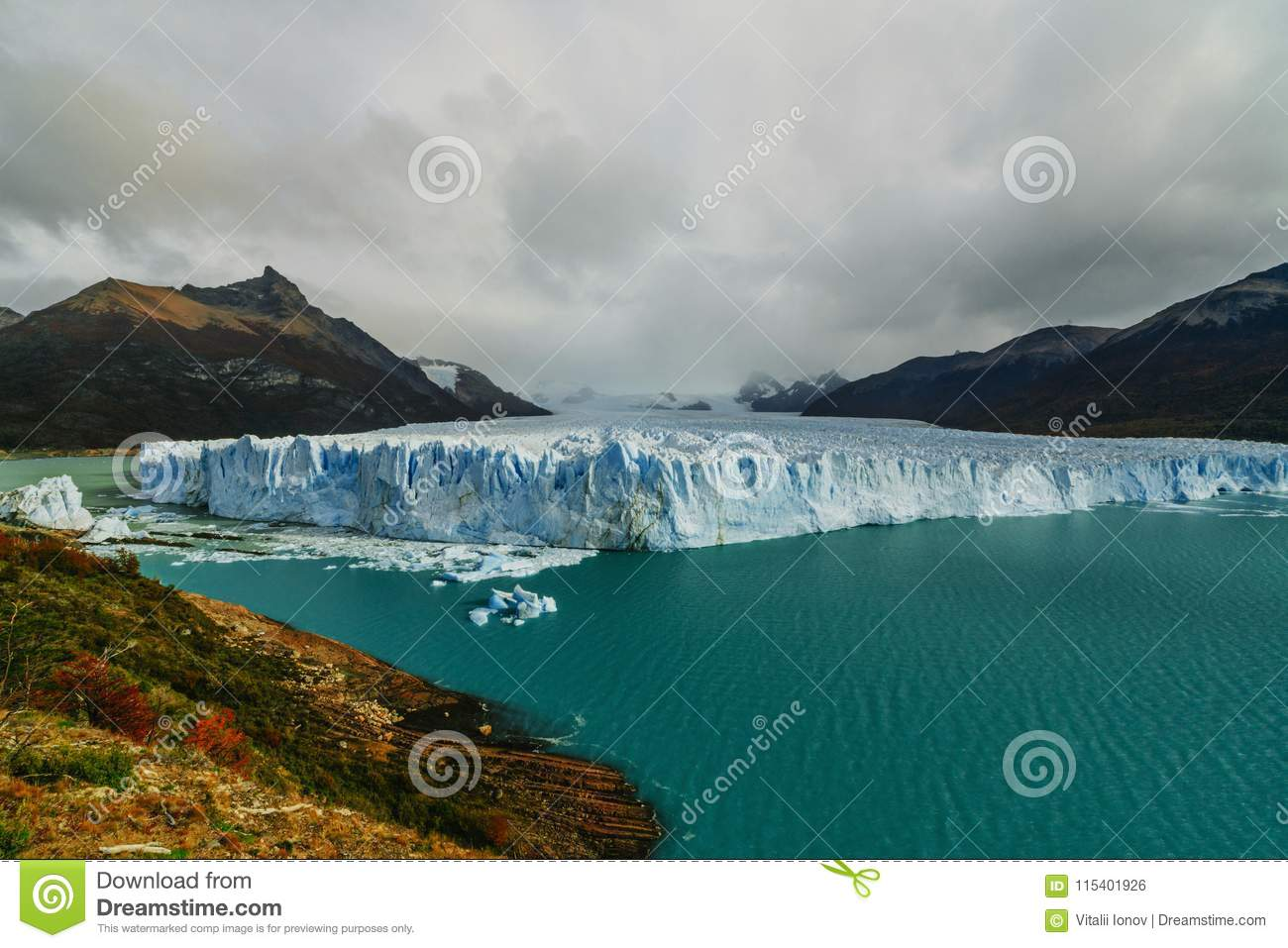 Glacier Perito Moreno in the park Los Glaciares. Autumn in Patagonia, the Argentine side