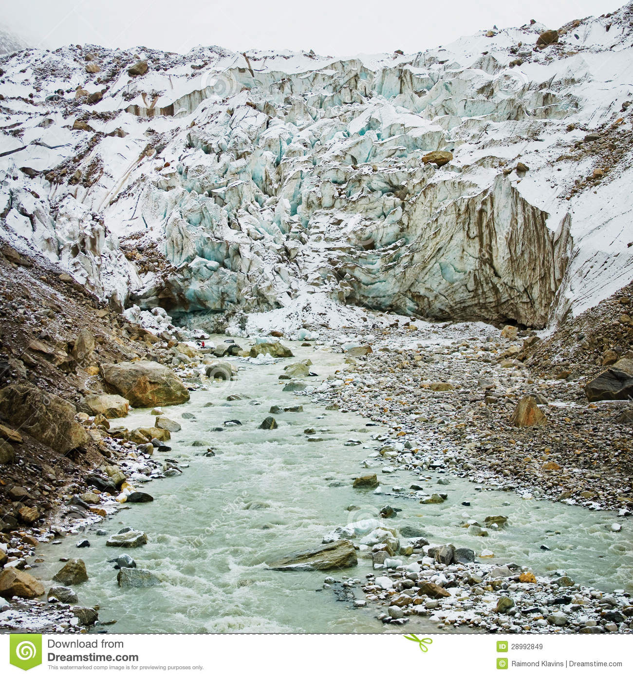 Glacier and river in mountain