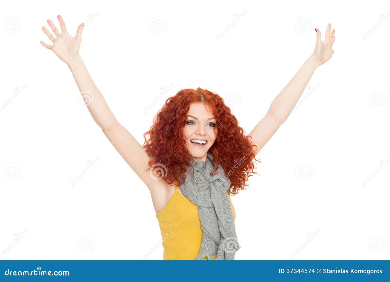 Glad flicka med deras händer upp