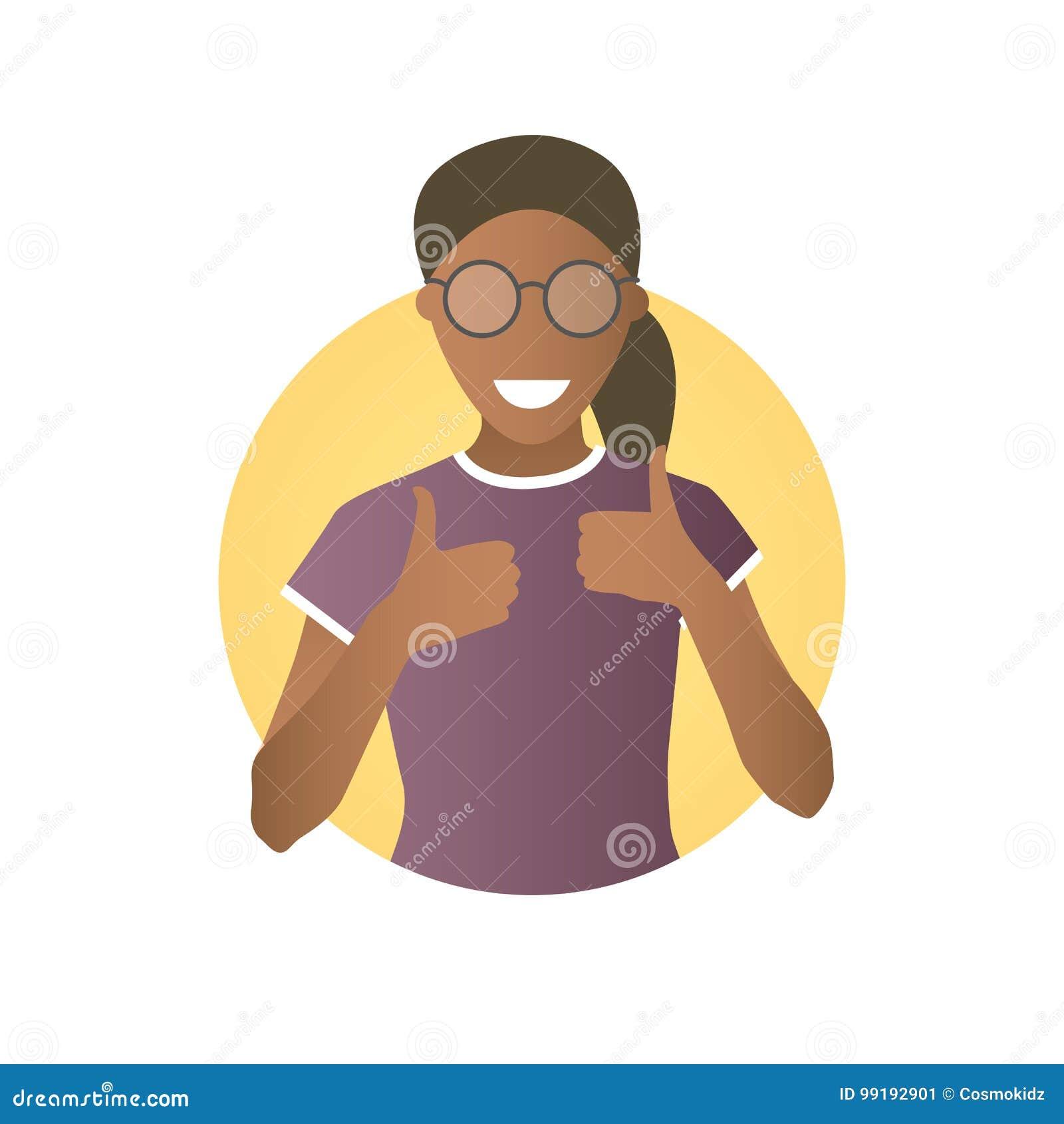 Glad, glad gladlynt svart flicka i exponeringsglas Plan lutningsymbol av kvinnan med tummar upp Enkelt redigerbart som isoleras p