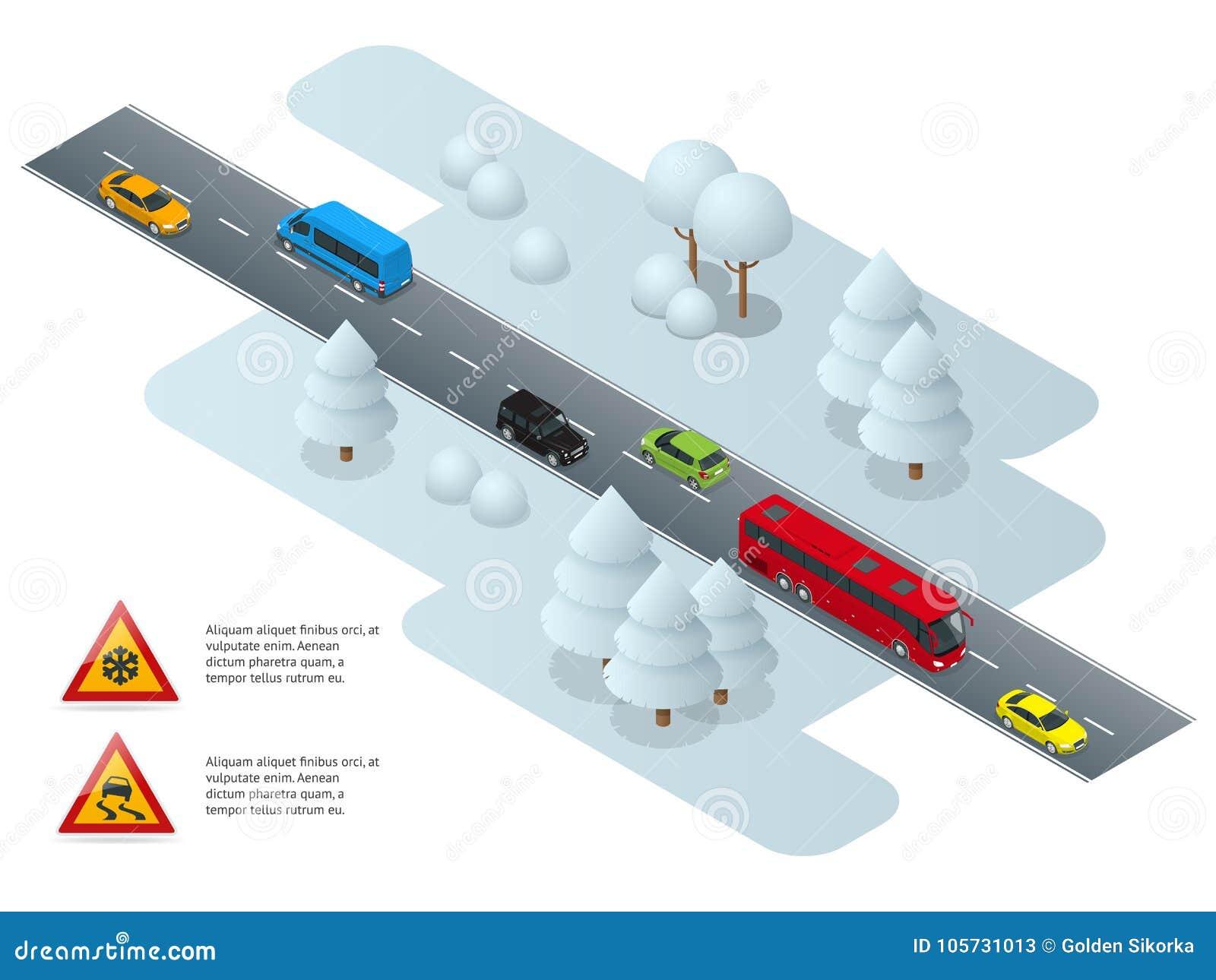 Glad, ijs, de winter, sneeuwweg en auto s Voorzichtigheidssneeuw De winter het Drijven en verkeersveiligheid De trein is op de po