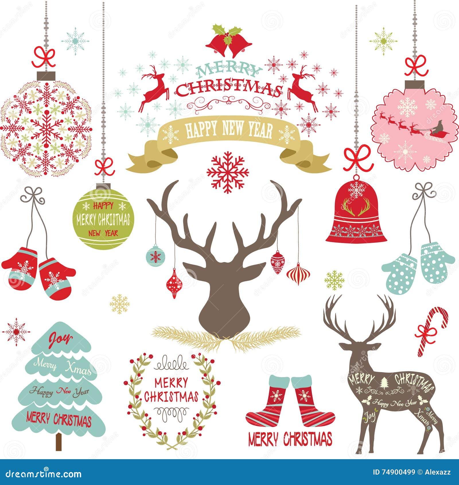 Glad jul, jul blommar, hjortar, lantlig jul, julgranen, julgarneringuppsättning