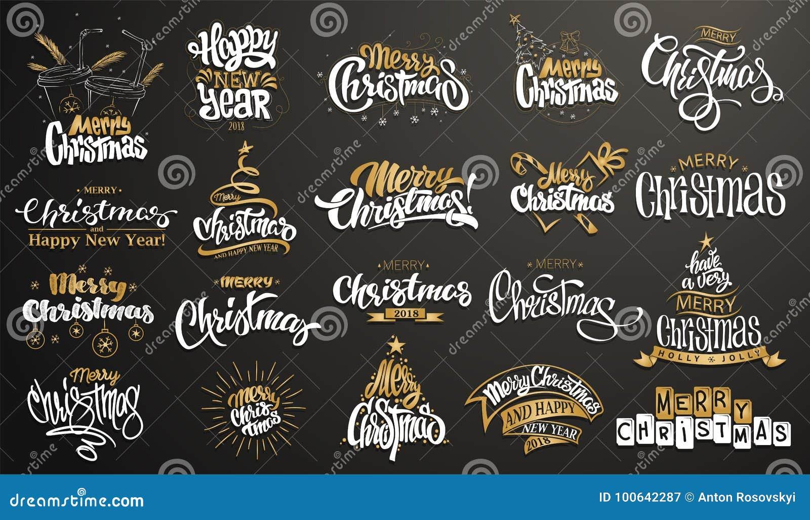 Glad jul lyckligt nytt år Handskriven modern borstebokstäver, typografiuppsättning