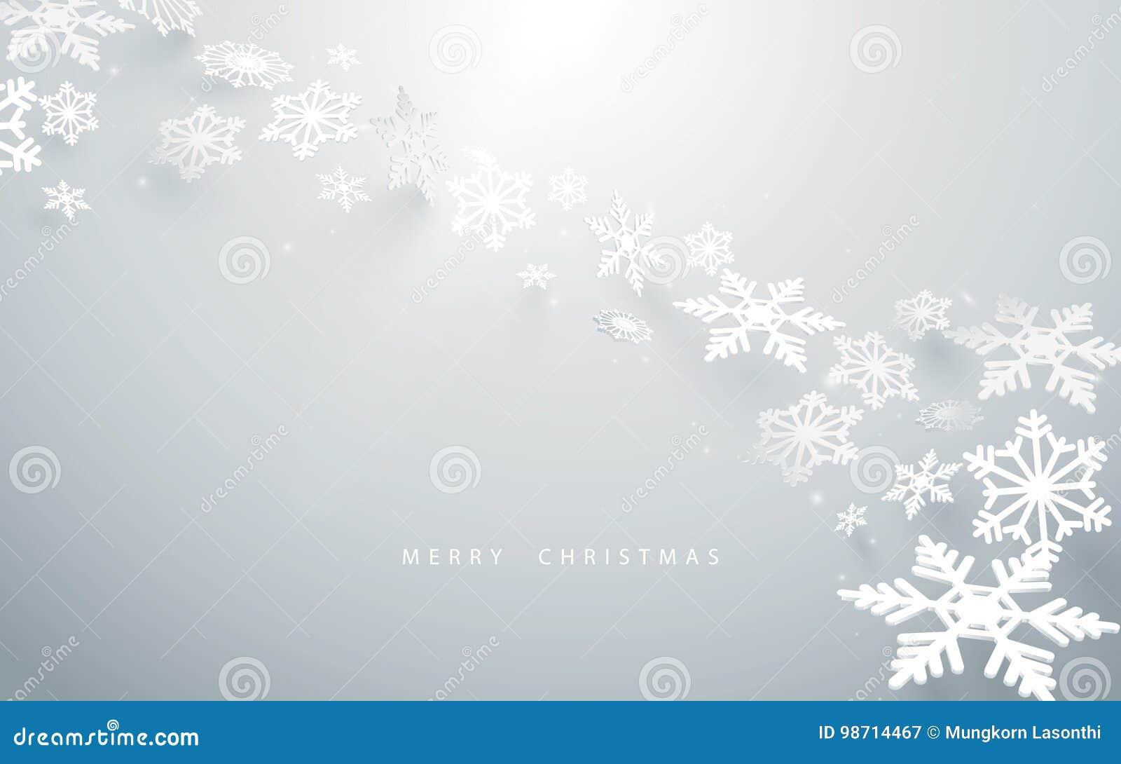 Glad jul och lyckligt nytt år Abstrakta snöflingor i vit bakgrund