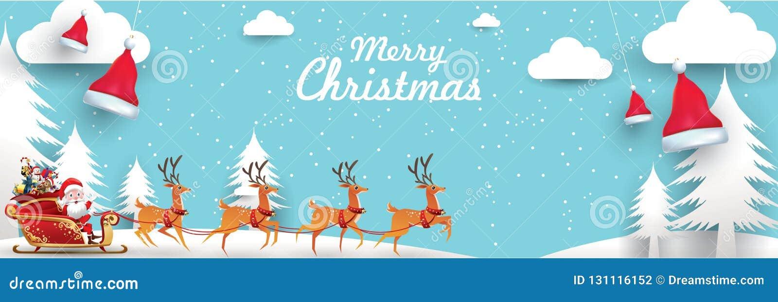 Glad jul och lyckligt nytt år Santa Claus är rider rensläden med en säck av gåvor i julsnöplats Vektorillus