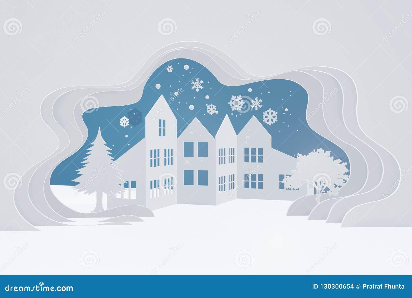 Glad jul och lyckligt nytt år, stads- bygdlandskap för snö, stadsby med kopieringsutrymme