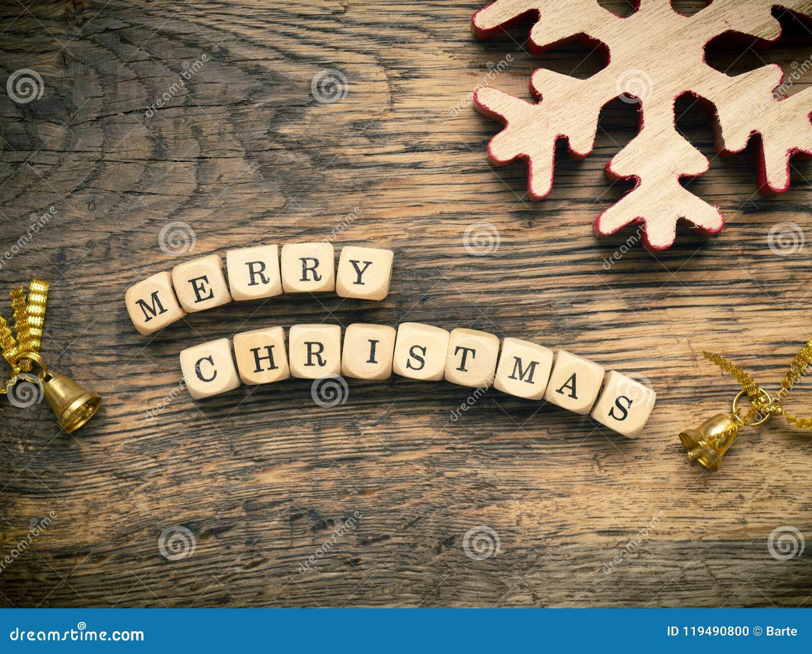 Glad jul på trä tärnar
