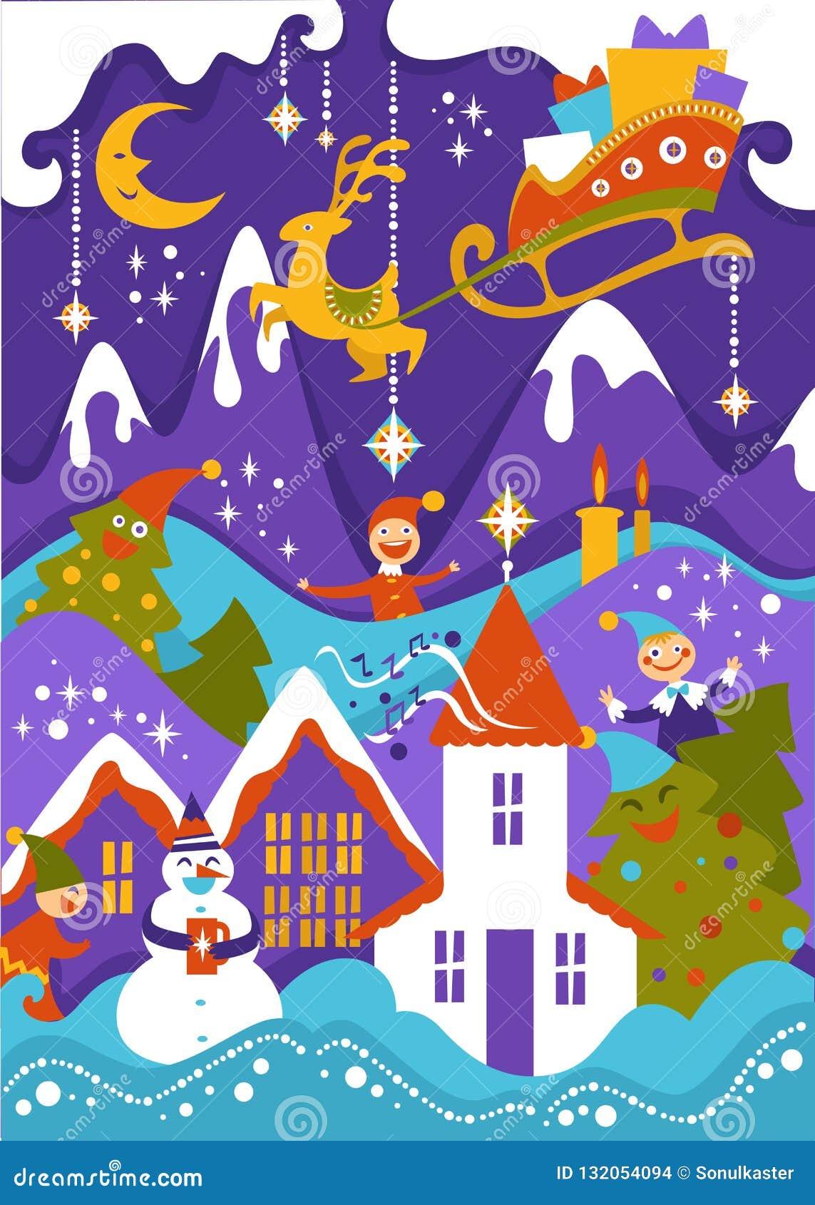 Glad jul som hälsar illustrationen av det snöig landskapet för berg med släden för Santas flygren