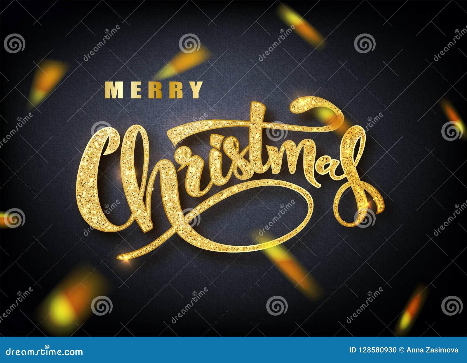 Glad jul som märker hälsningkortet för ferie Guld- konfettier Kalligrafi som märker nytt år vektor