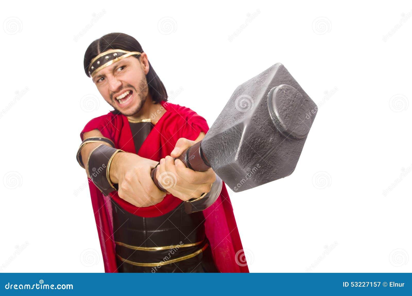 Gladiador con el martillo aislado en blanco