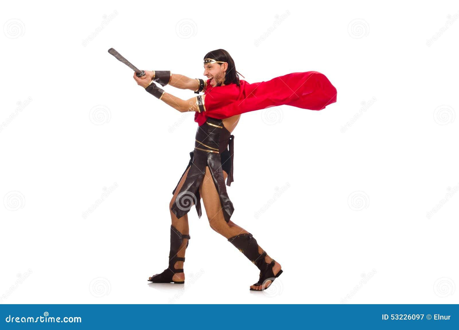 Gladiador con la espada aislada en blanco