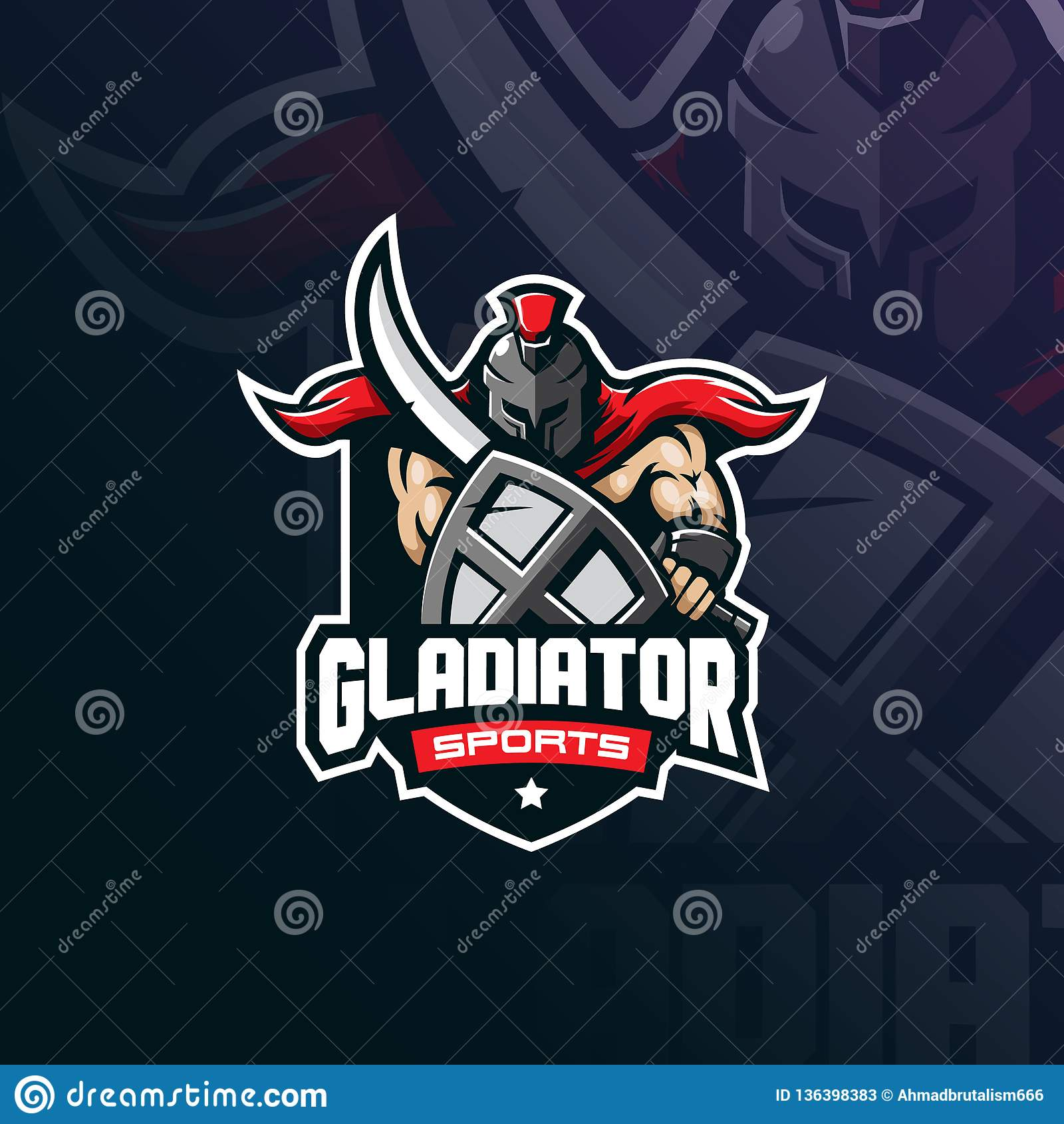 Gladiator διάνυσμα σχεδίου λογότυπων μασκότ με το σύγχρονο ύφος έννοιας απεικόνισης για την εκτύπωση διακριτικών, εμβλημάτων και