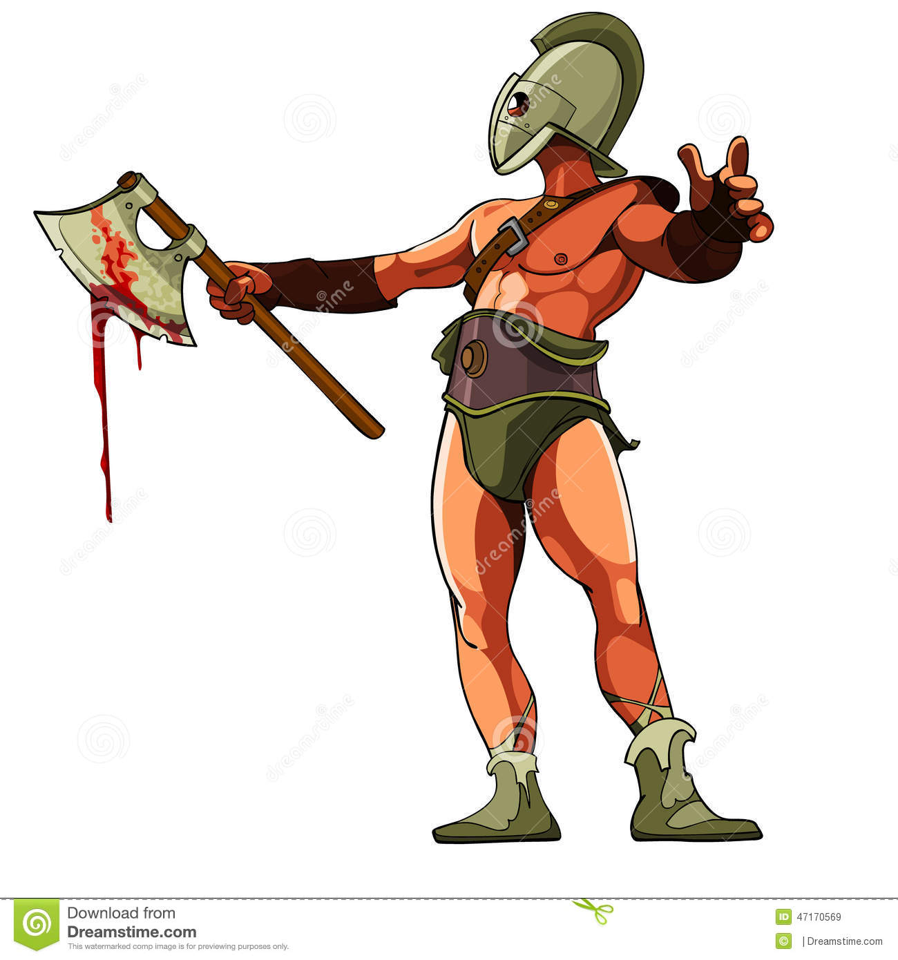 Gladiator with a bloody ax