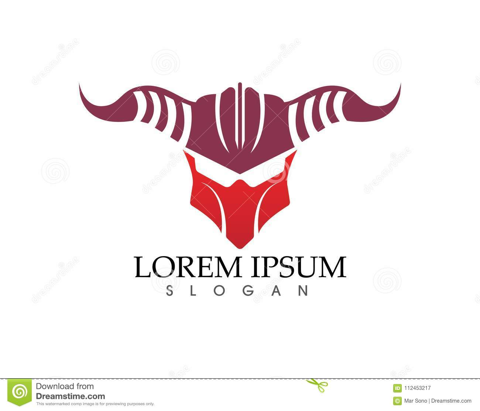 Gladiator Mask Warior Logo And Symbols Template Stock Vector