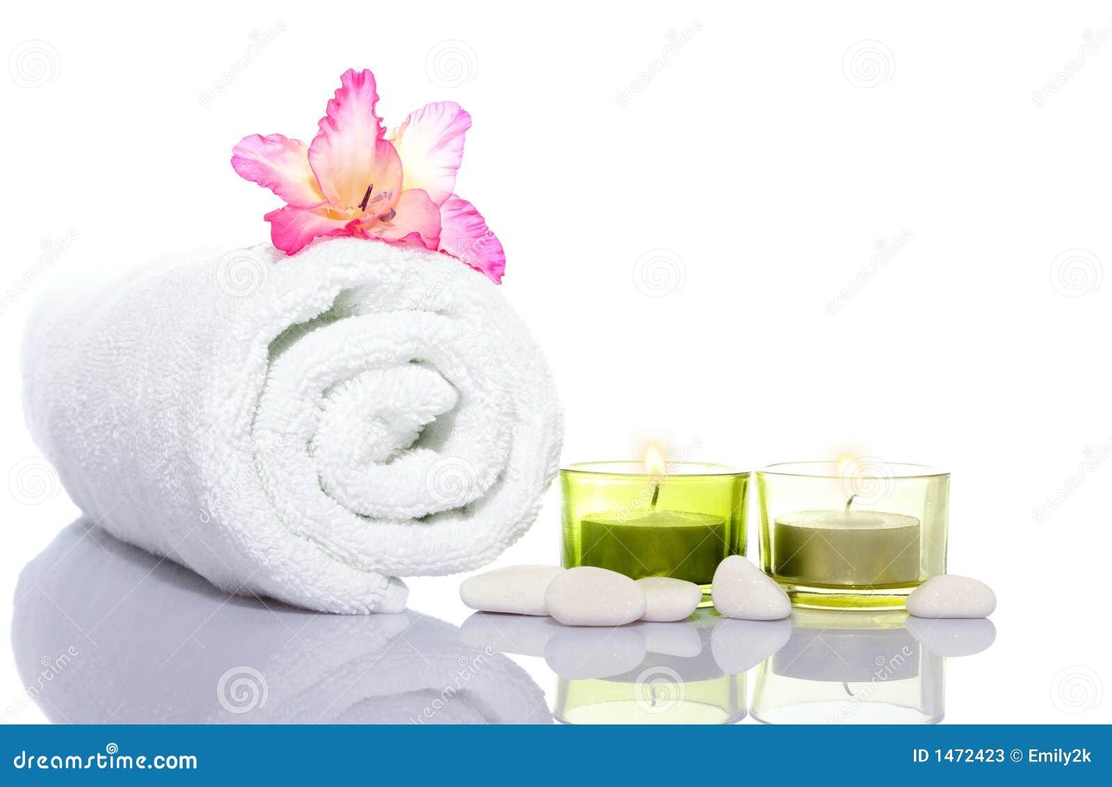 Gladiola toalla blanca velas y piedras del r o blanco for Piedra de rio blanca precio
