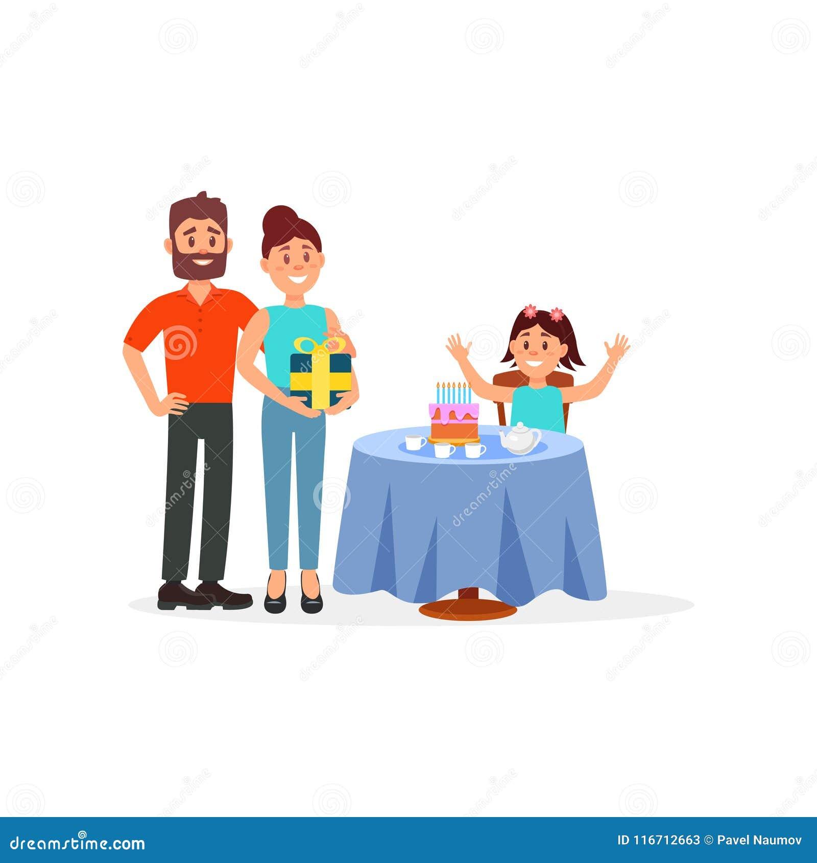 Gladlynt flickasammanträde bak tabellen med hennes födelsedagkaka Föräldrar som nära står med gåvan Plan vektorillustration