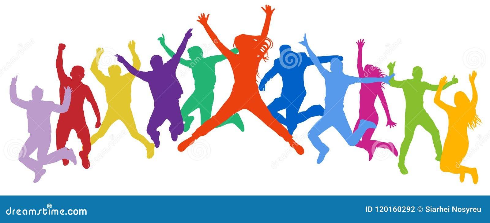 Gladlynt folkmassabanhoppningfolk Vänner hoppar, unga tonåringar för duns, trampolin