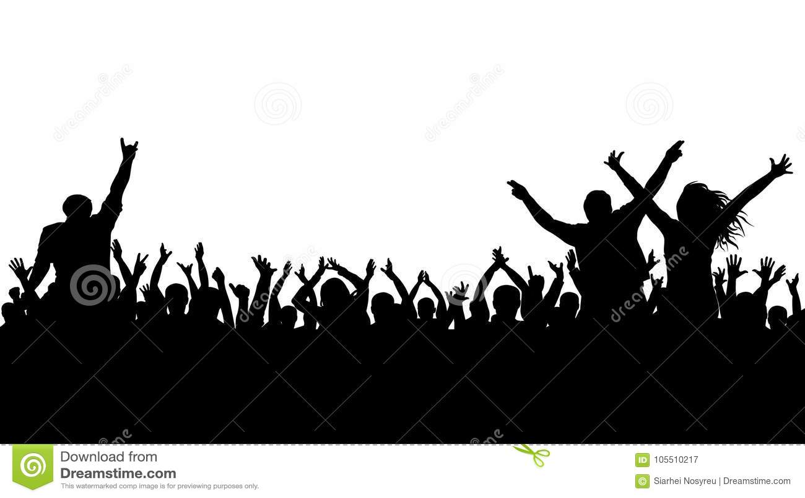 Gladlynt folkmassakontur Partifolket, applåderar Konsert för fandans, disko
