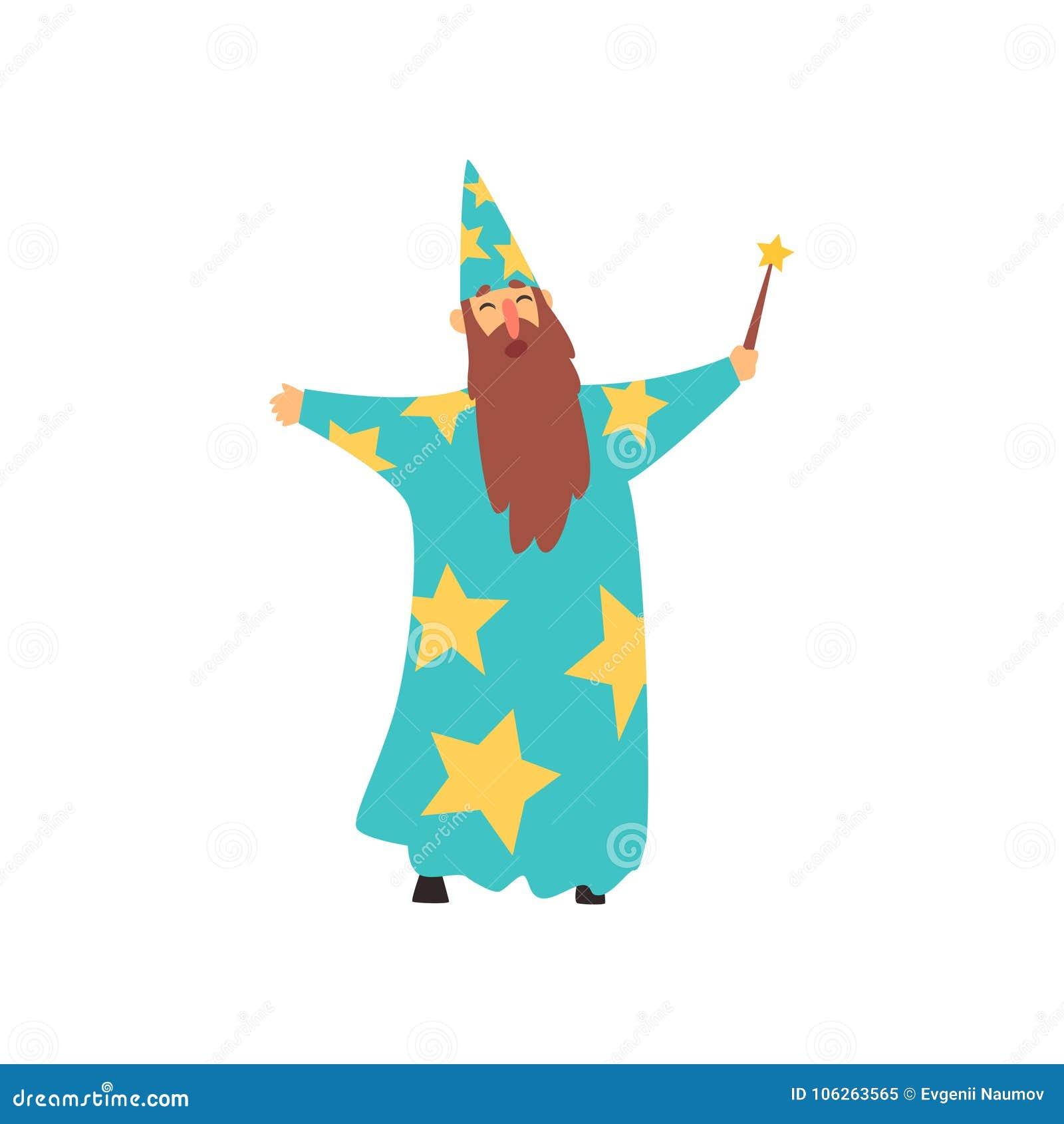 Gladlynt man med det långa skägget i blå trollkarldräkt med stjärnor och kottehatten Tecknad filmman med den magiska trollstaven