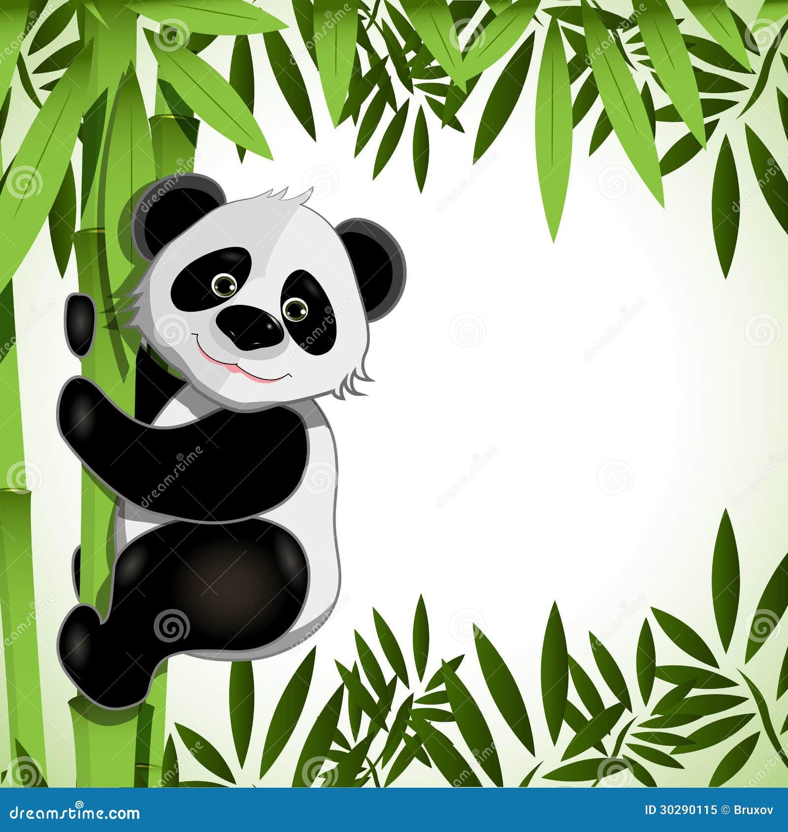 Gladlynt panda på bambu