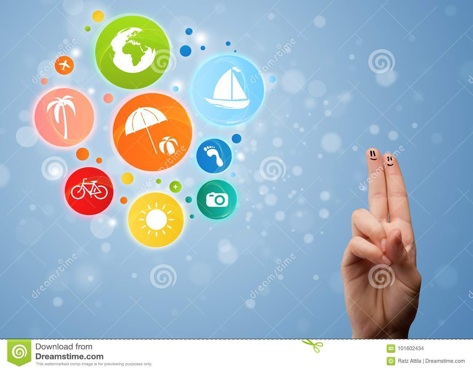 Gladlynta fingersmileys med färgrikt ferielopp bubblar symbolen