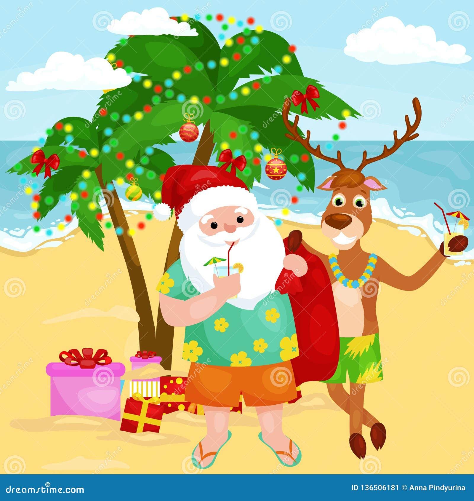 Gladlynta tecknad filmjulvänner tillsammans på den soliga stranden