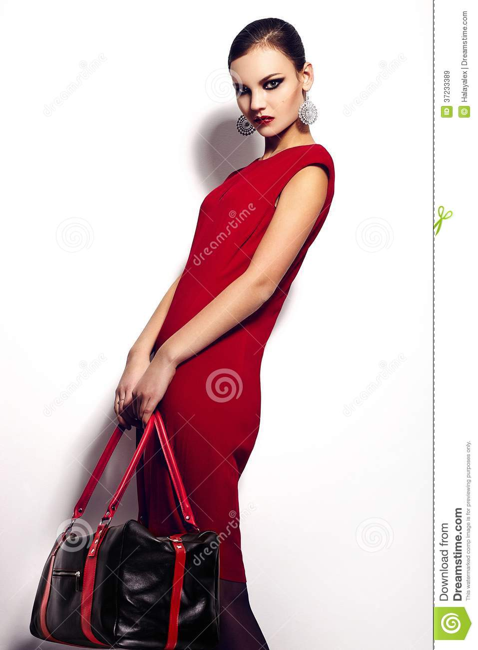 Glamor closeup portrait of beautiful stylish brunette Caucasian young woman model in red dress with black b