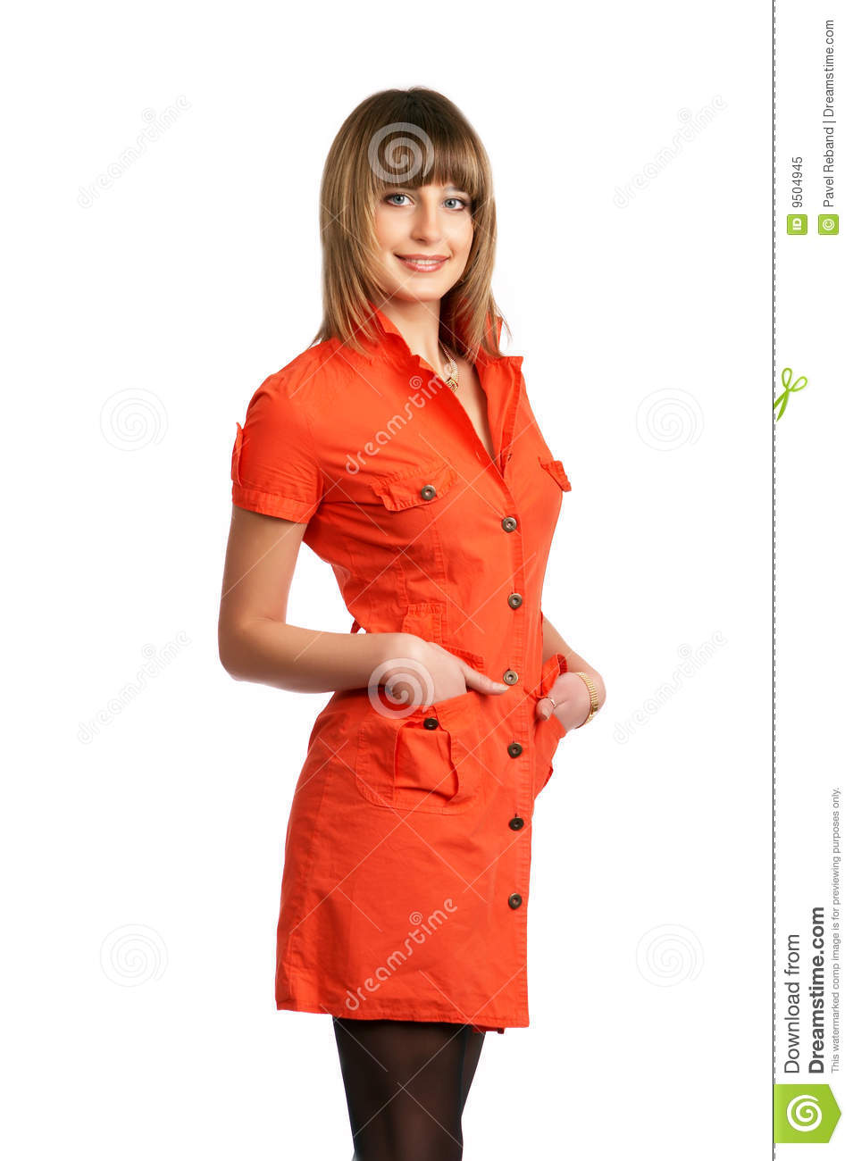 Glamor Girl In A Orange Dress Isolated Royalty Free Stock ...
