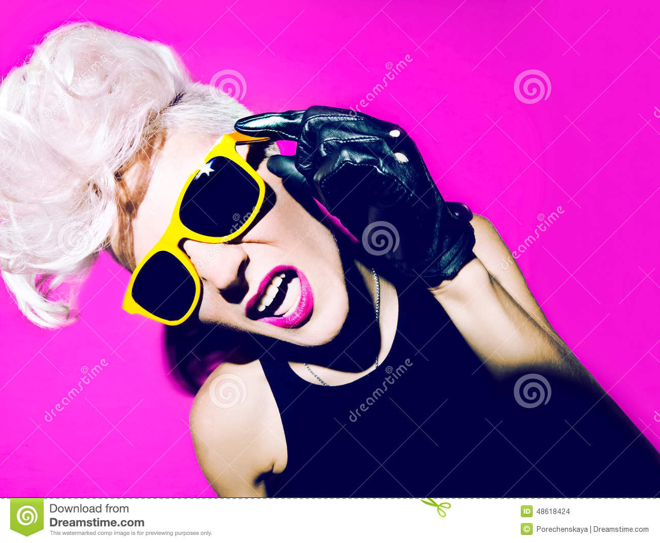 Funny Portrait Of Emotional Girl In Pink Glasses Stock