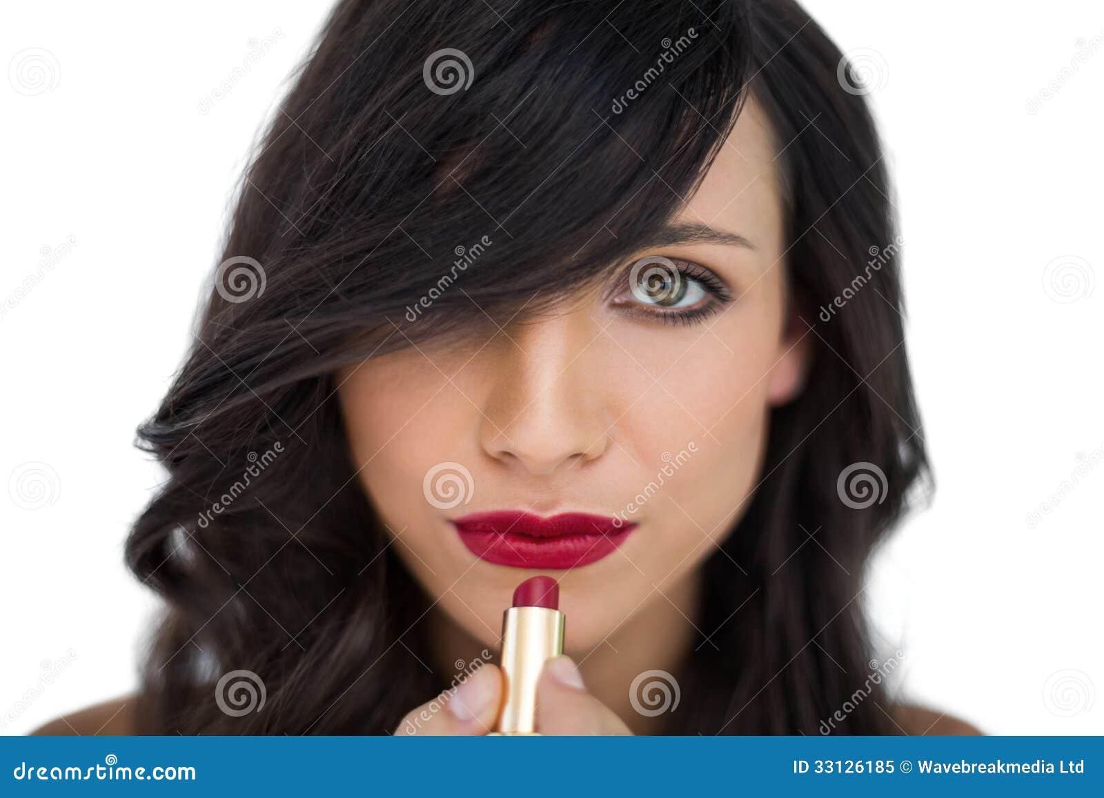 Brunette Lipstick Hot Model Fukers