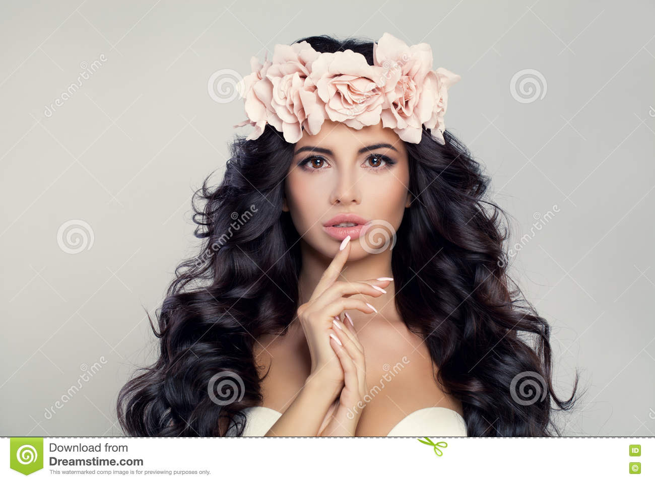 Glamorous Brunette Woman Model With Long Curly Hair Stock