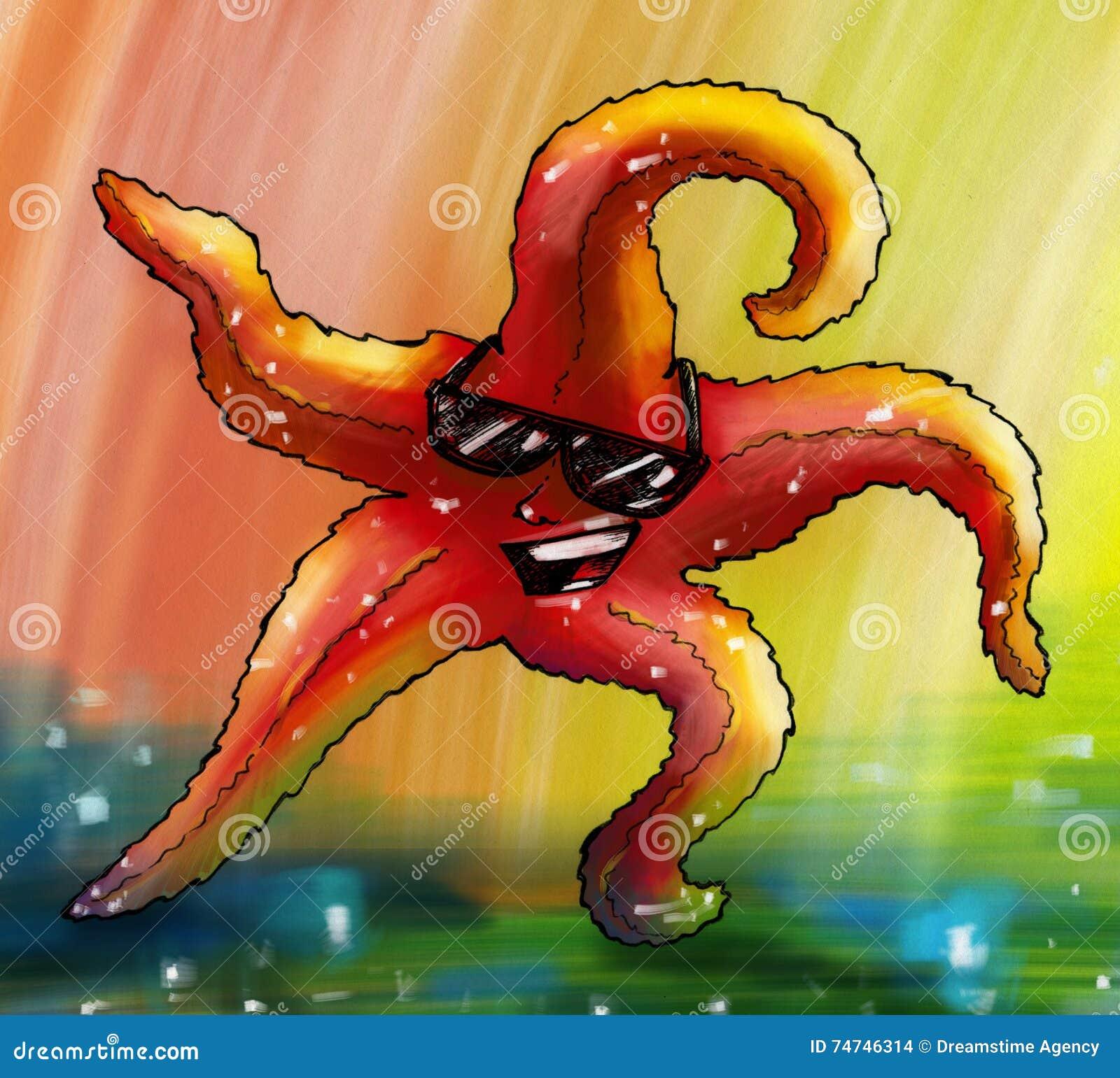 Glamorous disco dancing starfish