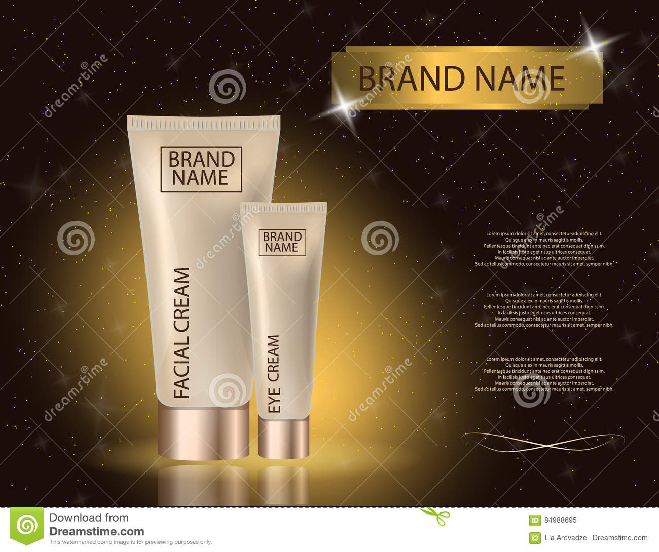 Glamorous facial and eye cream jar on the sparkling effects background.