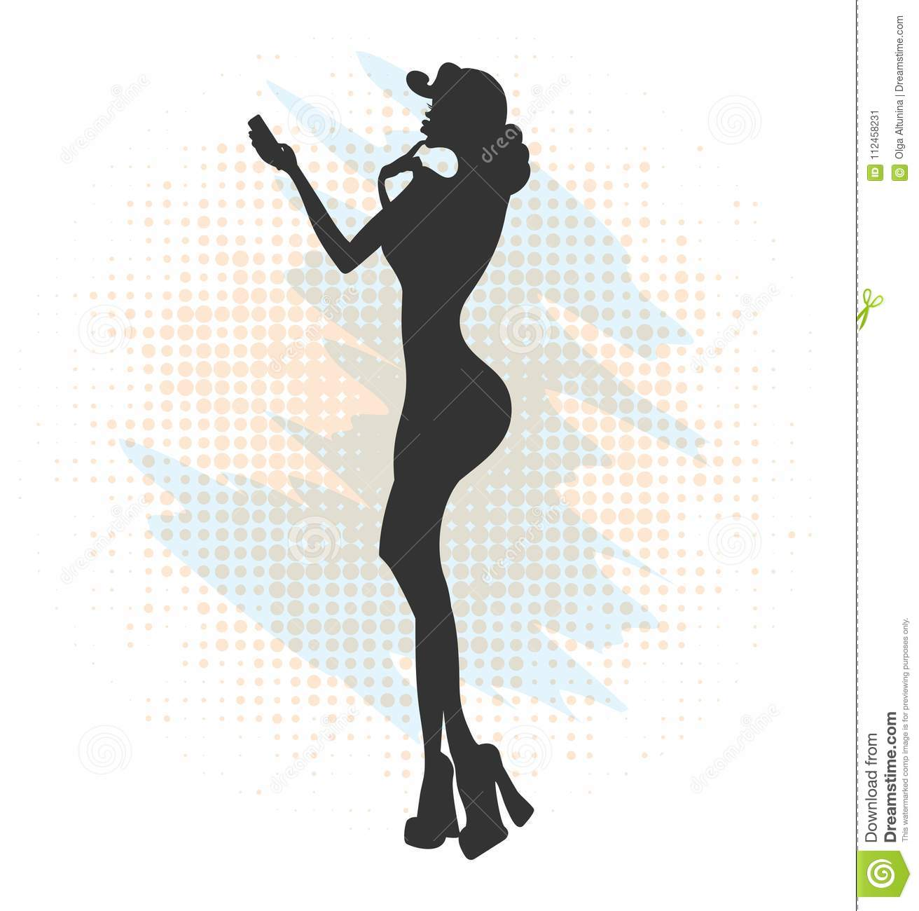 35fdb609e Glamorous Lady In Red Dress And Red Shoes Makes Selfie Stock Vector ...
