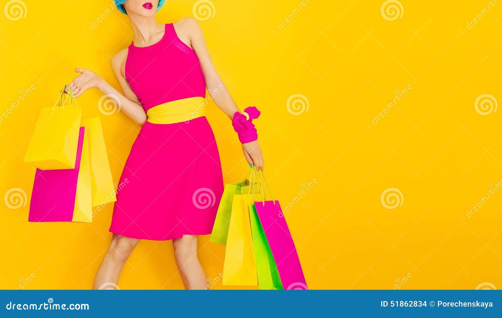 Glamorous lady shopping.