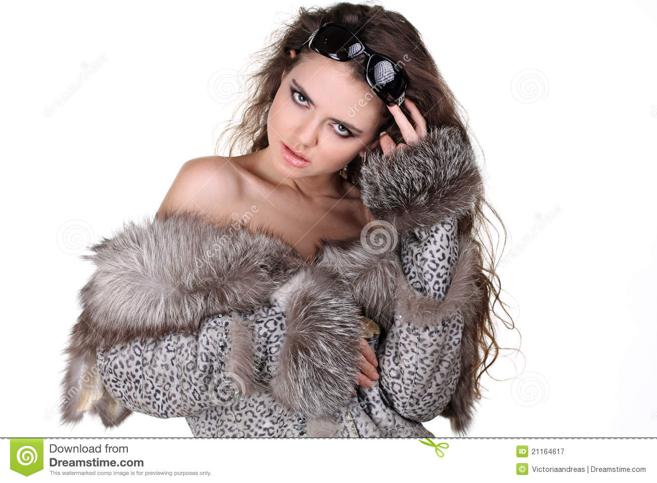 Glamorous Woman In Fox Fur Coat With Sunglasses Royalty Free Stock ...