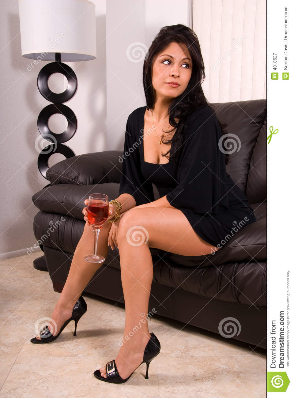 Glamorous Woman With Wine Royalty Free Stock Photography